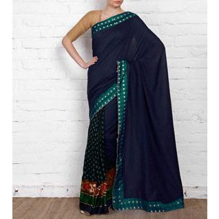Blue Tussar & Muga Silk Saree with Brocade Patch - rangoutlet.com