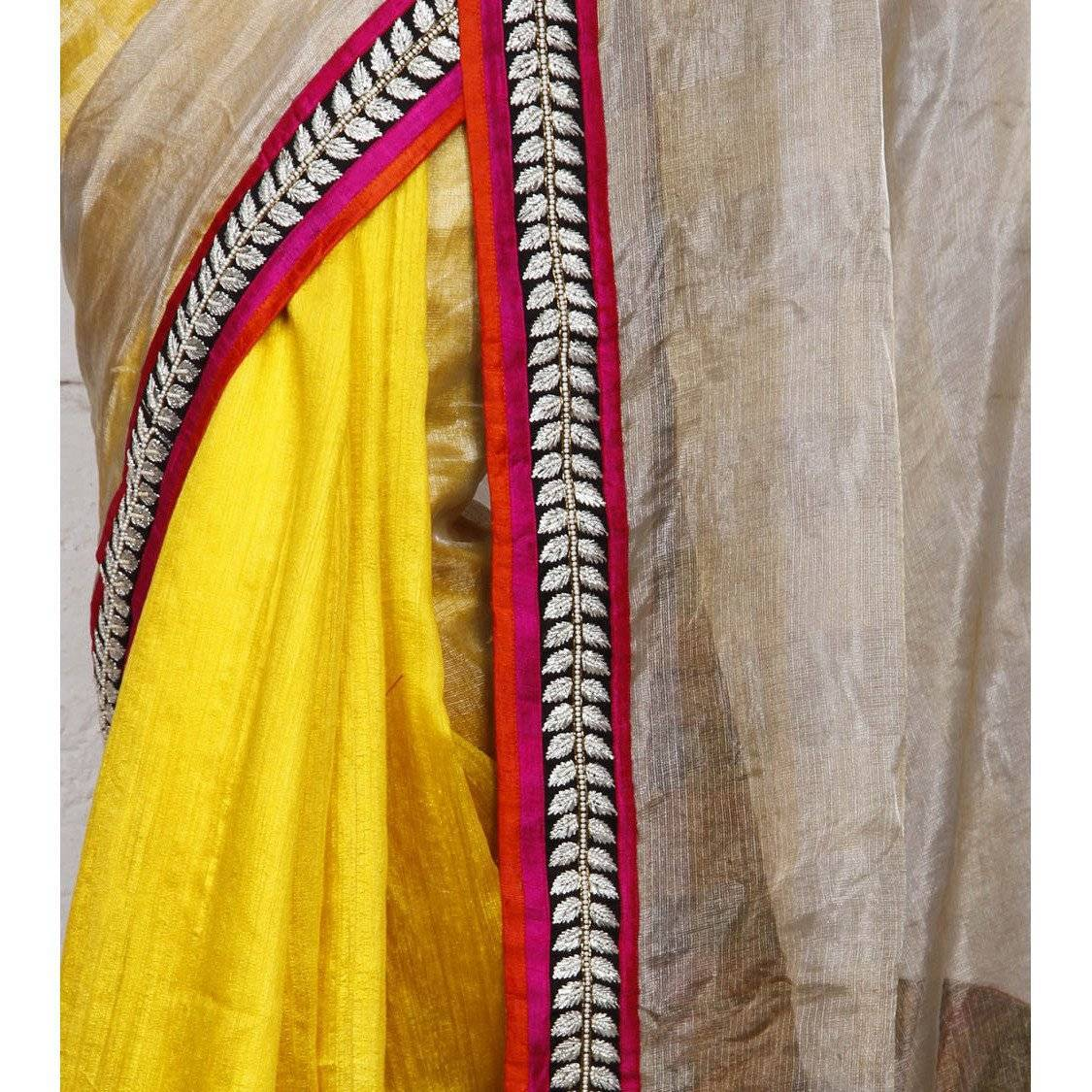 Beige & Yellow Kota Silk Saree - rangoutlet.com