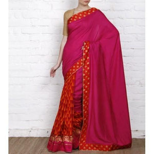Pink Tussar & Muga Silk Saree with Banarasi Brocade Patch - rangoutlet.com