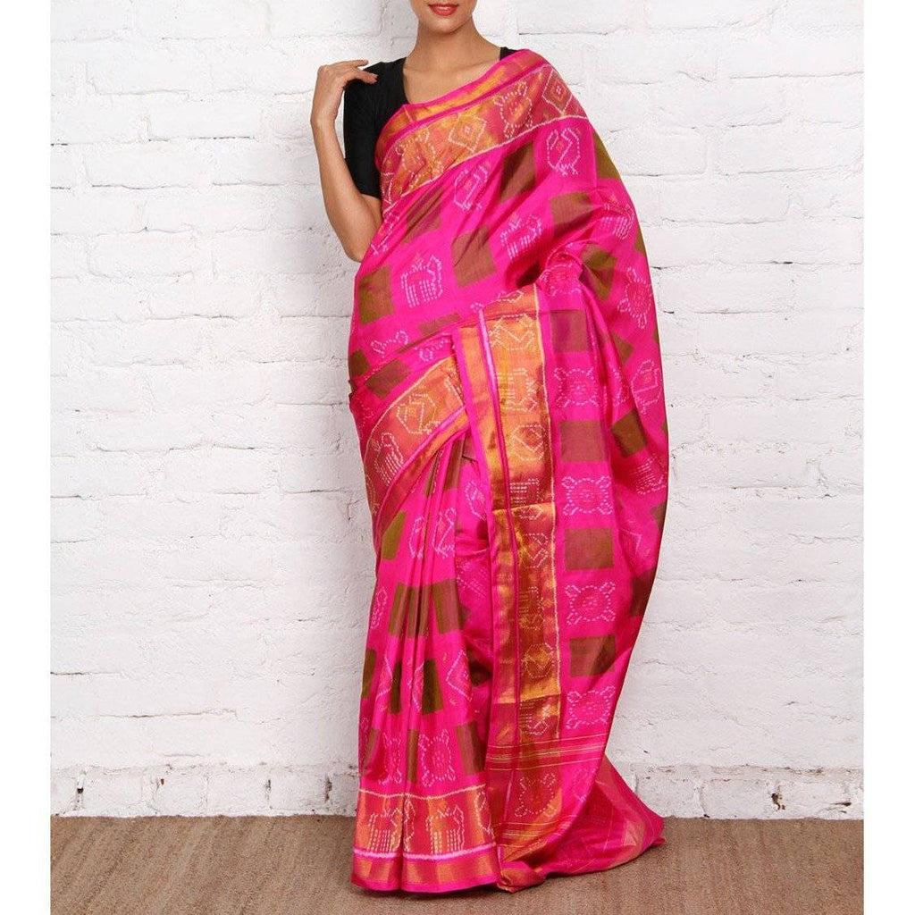 Hot Pink Silk Saree - rangoutlet.com