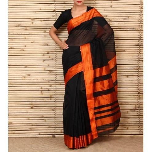 Black & Orange Cotton Silk Maheshwari Saree - rangoutlet.com