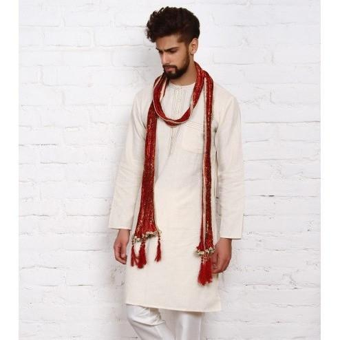Maroon Silk Blend Stole for Men - rang