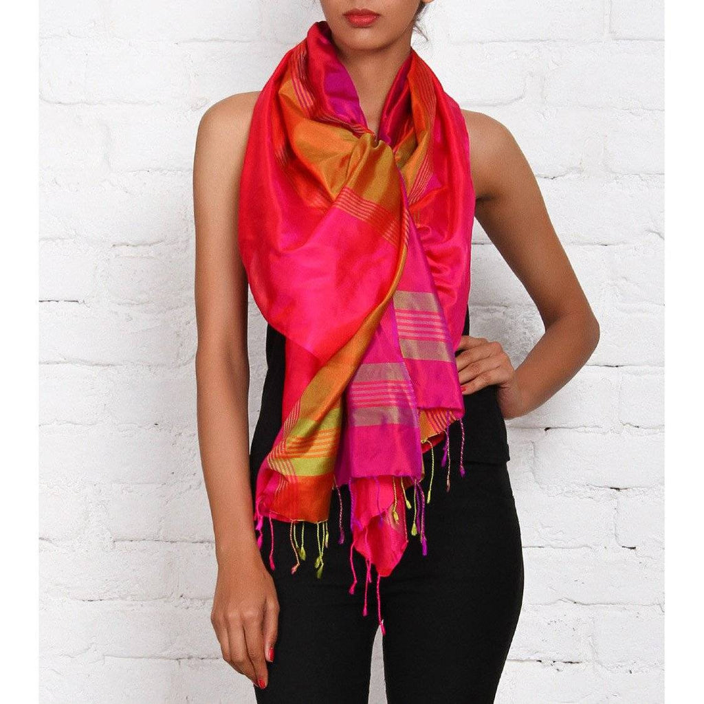 Multicolored Silk Scarf - rangoutlet.com