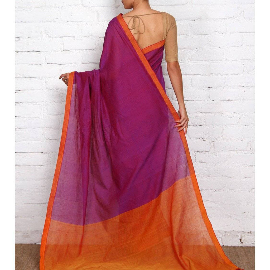Purple Mangalgiri Cotton Saree - rangoutlet.com