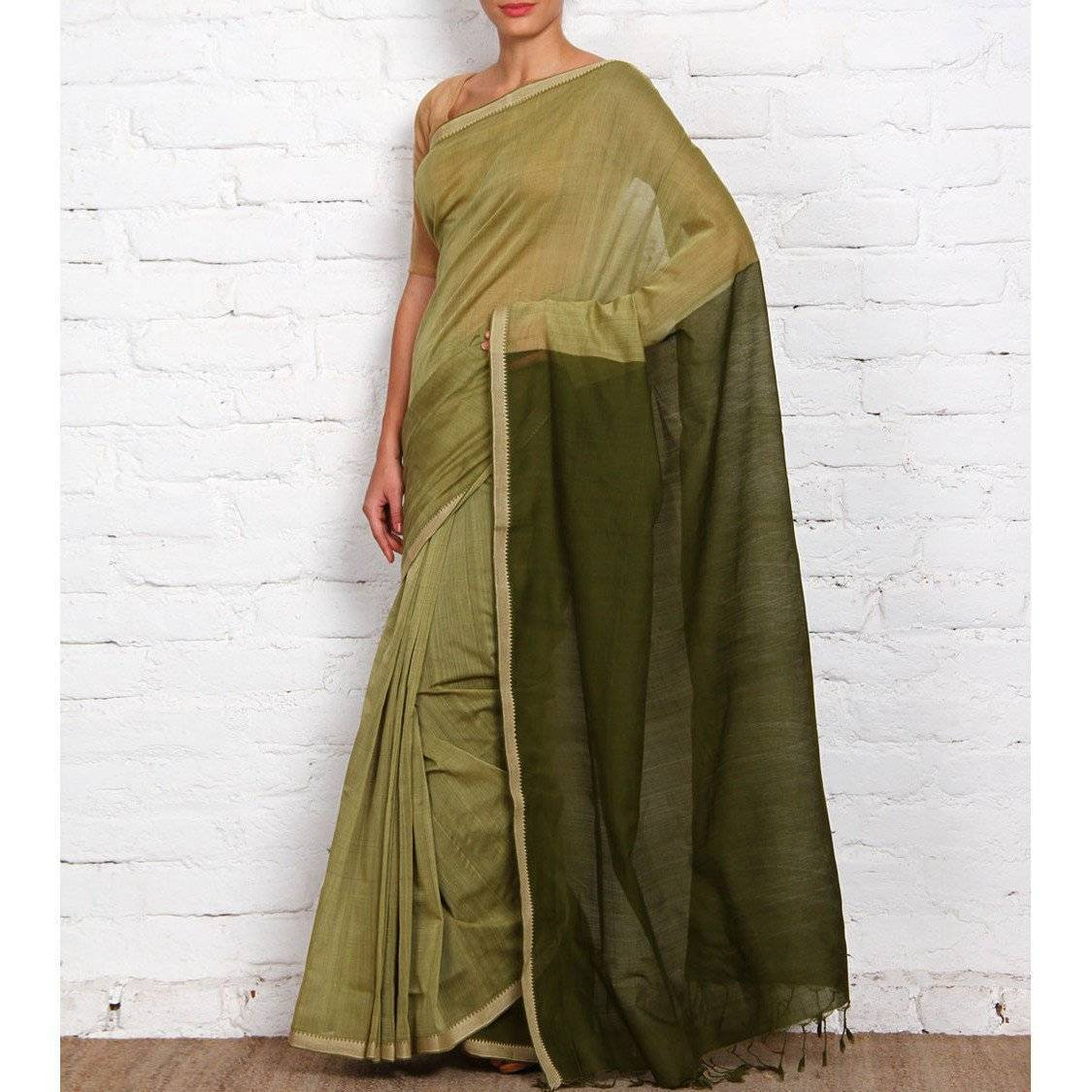 Green Mangalgiri Cotton Saree - rangoutlet.com
