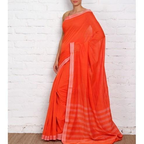 Orange Mangalgiri Cotton Saree - rangoutlet.com