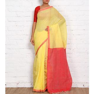 Yellow Mangalgiri Cotton Sarees - rangoutlet.com