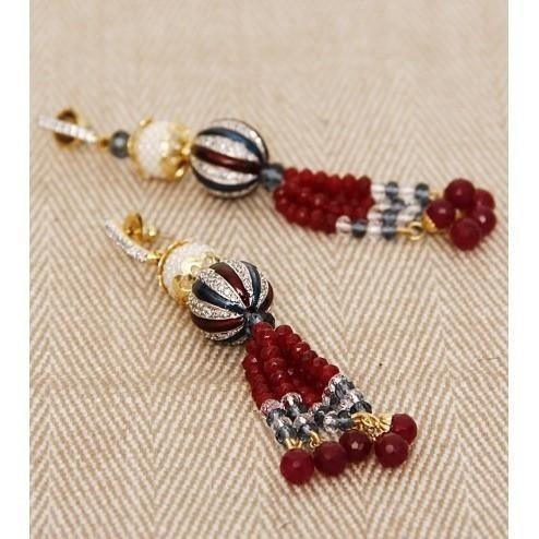 Red Stone Embellished Earrings - rangoutlet.com