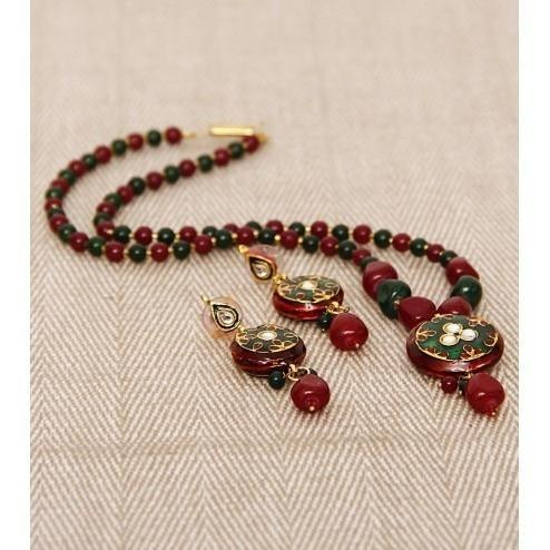 Red & Green Stone Embellished Necklace Set - rangoutlet.com