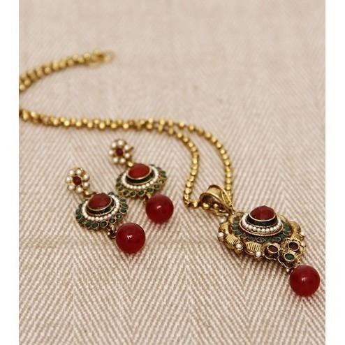 Stone Embellished Necklace Set - rangoutlet.com