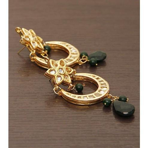 Embellished Golden Earrings - rangoutlet.com