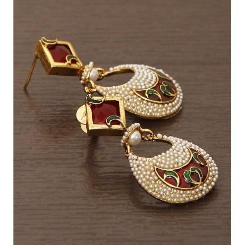 Embellished Golden & White Earrings - rangoutlet.com