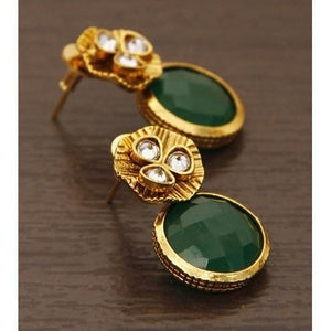 Blue & Golden Embellished Earrings - rangoutlet.com