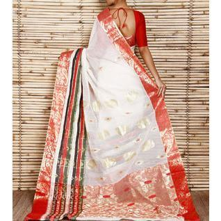Off White Tant Cotton Saree with Zari Border - rangoutlet.com