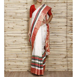 Off White Tant Cotton Saree with Zari Border - rang