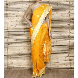 Yellow Tant Cotton Saree with Resham Border - rangoutlet.com