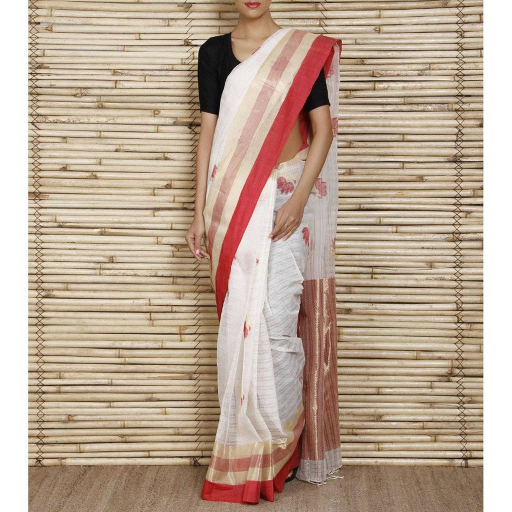 Off White Bengal Handloom Cotton Saree - rangoutlet.com