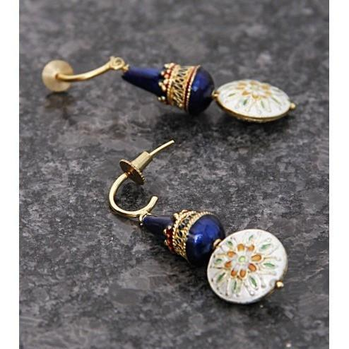 Blue & White Embellished Earrings - rangoutlet.com