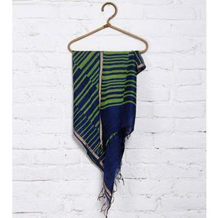 Green & Blue Block Printed Cotton Silk Dupatta - rangoutlet.com