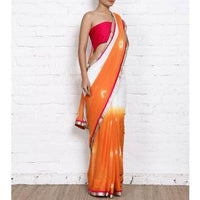 Orange & White Bandhani Georgette Saree - rangoutlet.com