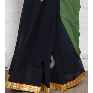 Green & Navy Blue Bandhani Georgette Saree - rangoutlet.com