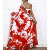 Red & White Tie Dyed & Block Printed Cotton Linen Saree - rang