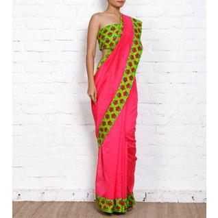 Pink Chanderi Saree with Green Block Printed Border - rang