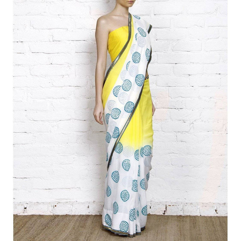 Yellow & White Dip Dyed Georgette Saree With Blue Block Print - rangoutlet.com