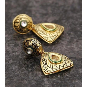 Gold Plated Ethnic Kundan Earrings (100000061671) - rangoutlet.com