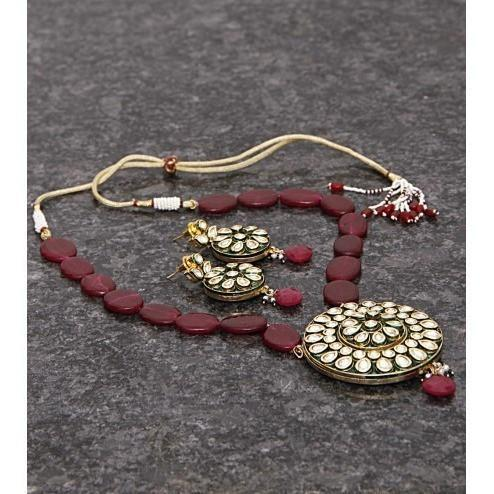 Maroon Kundan Embellished Necklace Set - rang