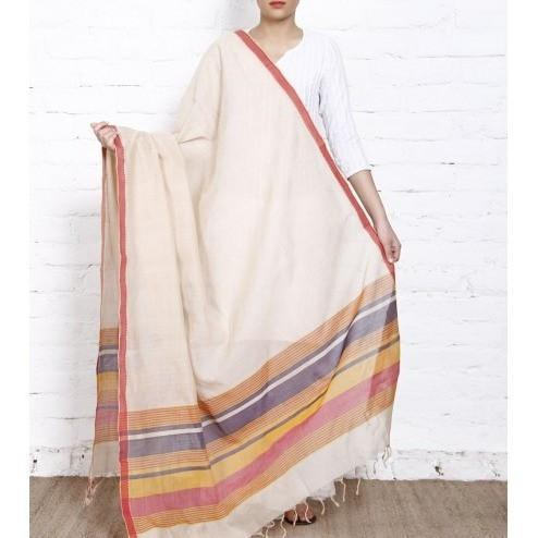 Beige Cotton Dupatta with Cotton Woven Border (100000052805) - rangoutlet.com