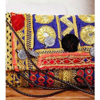 Multicoloured Embroidered Afghani Clutch (100000052898) - rangoutlet.com