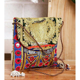 Blue & Black Embroidered Afghani Sling Bag - rangoutlet.com