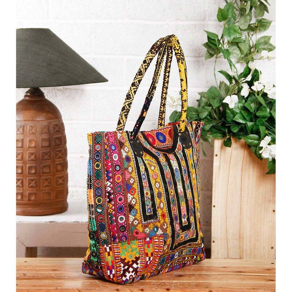 Multicoloured Embroidered Afghani Bag (100000052926) - rangoutlet.com
