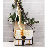 Yellow & White Tie Dyed Suede Sling Bag
