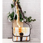 Yellow & White Tie Dyed Suede Sling Bag - rangoutlet.com