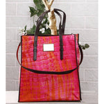 Orange & Pink Tie Dyed Cotton Tote Bag - rangoutlet.com