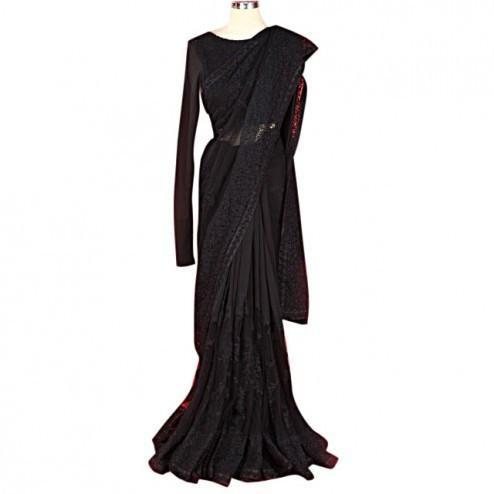 SABYASACHI Black Embroidered Net Saree - rangoutlet.com