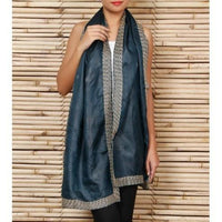 Green Silk Stole with Kantha Works - rangoutlet.com