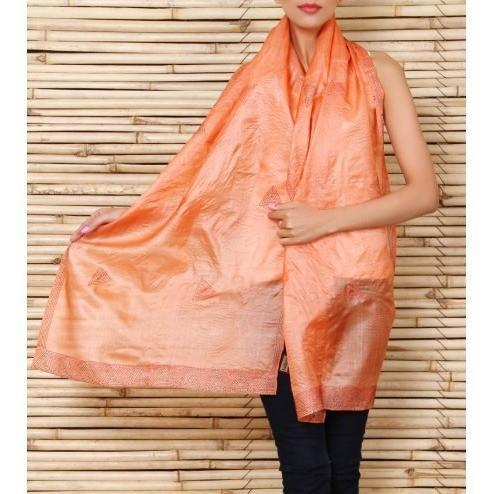 Orange Silk Stole with Kantha Work - rangoutlet.com