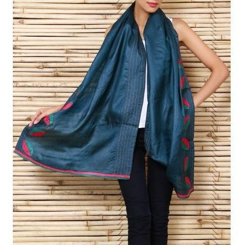 Green Silk Stole with Kantha Work - rangoutlet.com