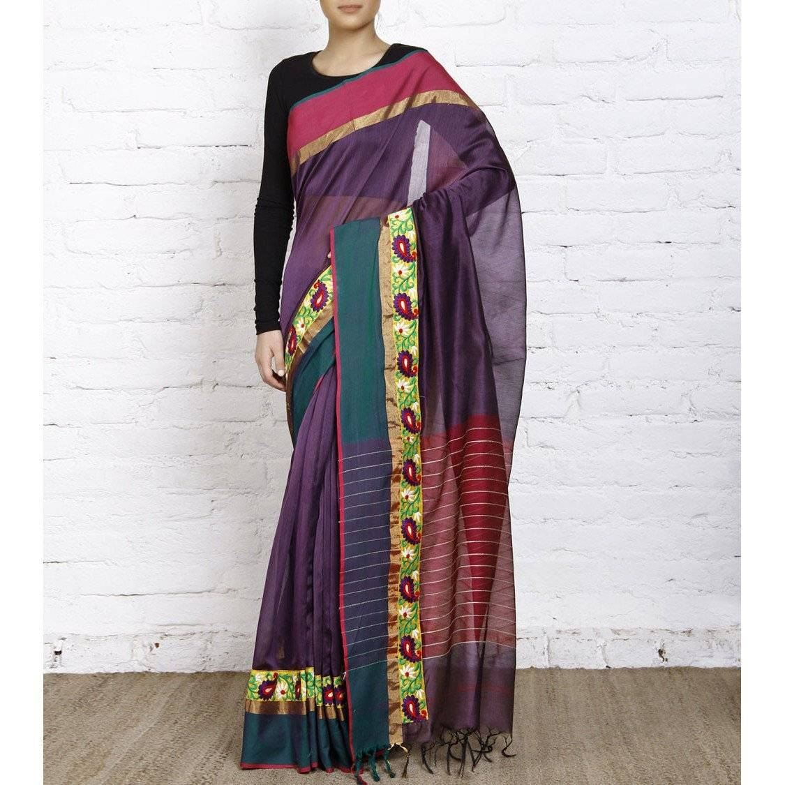 Purple Handloom Cotton Silk Saree - rangoutlet.com