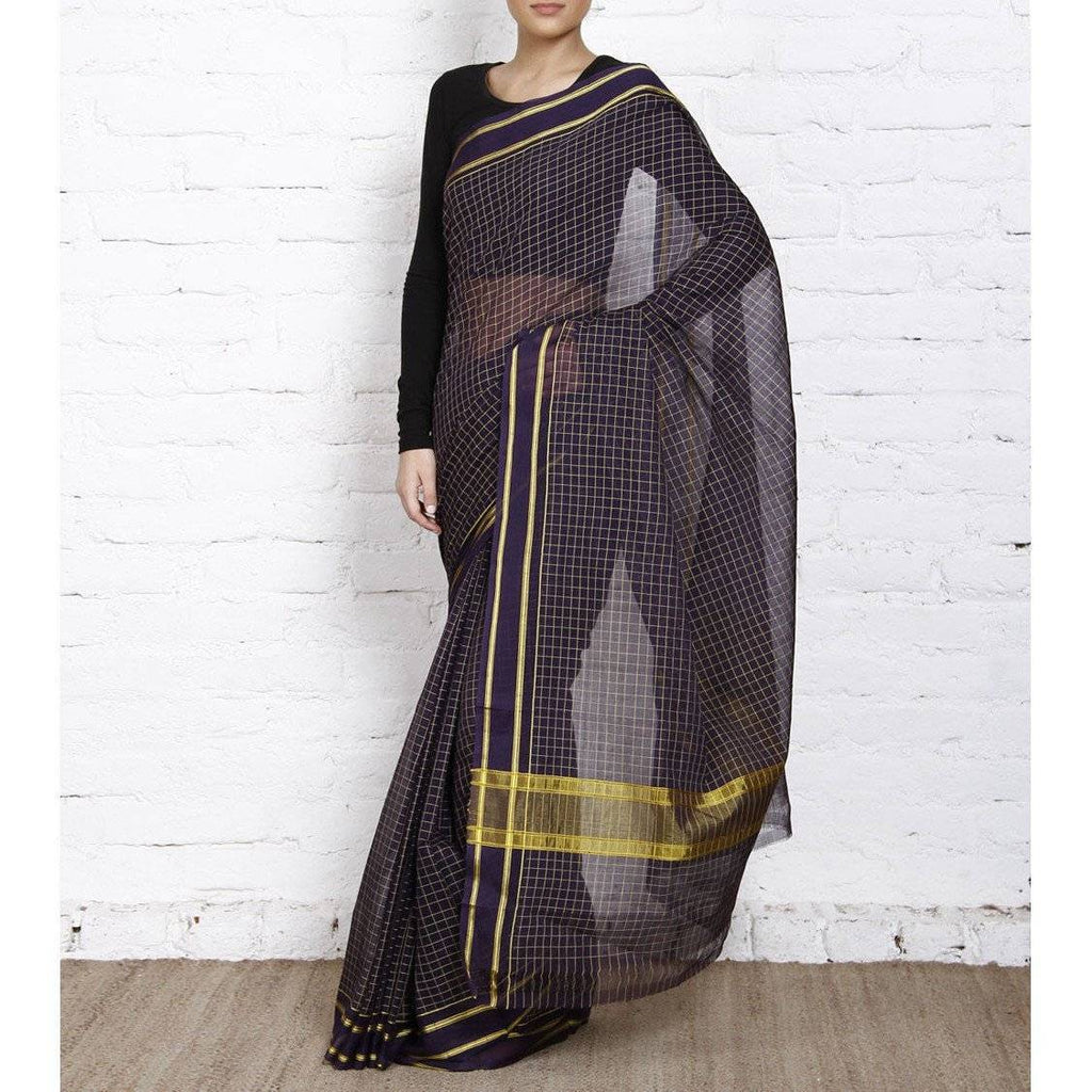 Purple Handloom Cotton Saree (100000055382) - rangoutlet.com