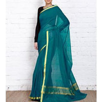 Blue Handloom Cotton Saree - rang