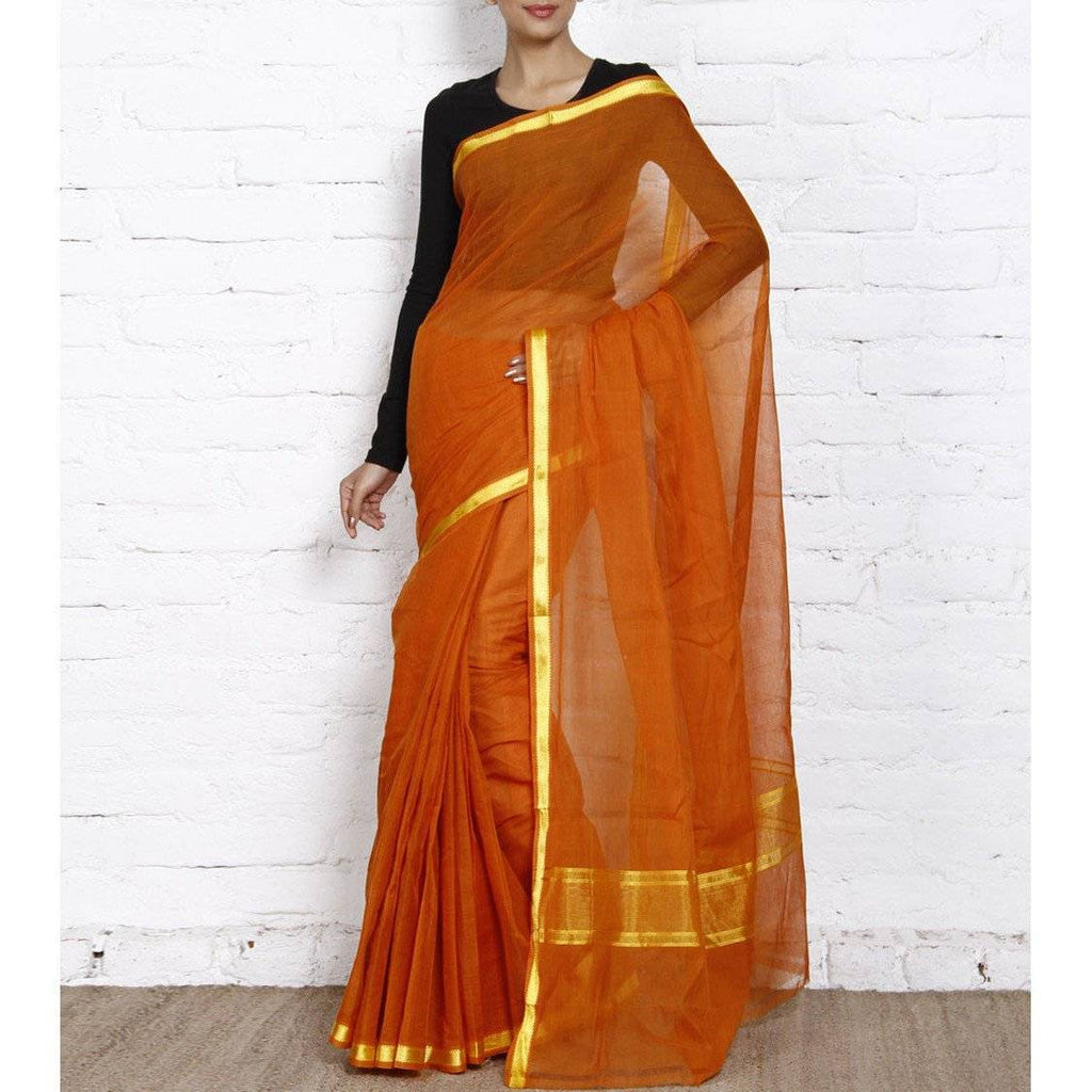 Orange Handloom Cotton Saree - rangoutlet.com