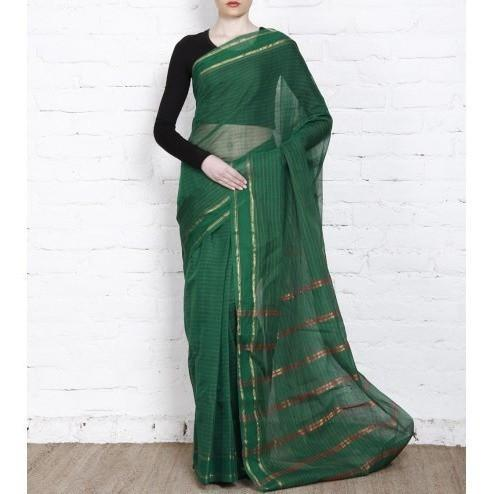 Dark Green Handloom Cotton Saree - rangoutlet.com