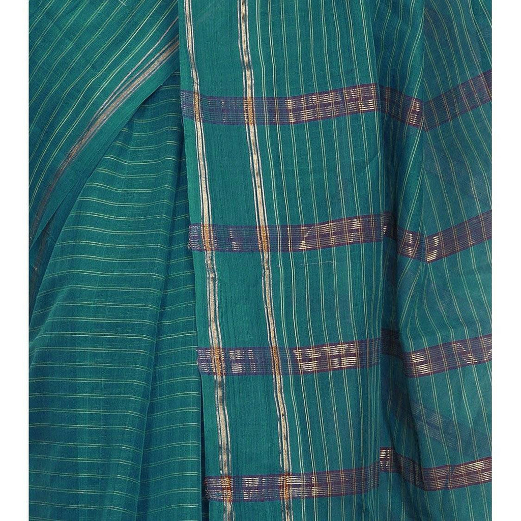 Blue Handloom Cotton Saree (100000055398) - rangoutlet.com