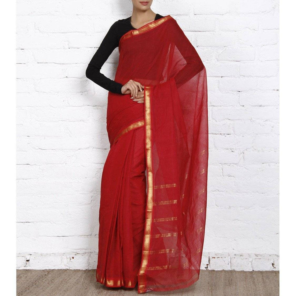 Red Handloom Cotton Saree - rangoutlet.com