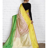 Beige & Green Handwoven Pochampally Silk Saree - rangoutlet.com