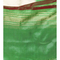 Beige & Green Handwoven Pochampally Silk Saree - rang
